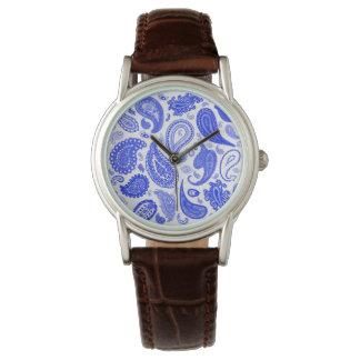 Relógio de forma azul de Paisley por Julie