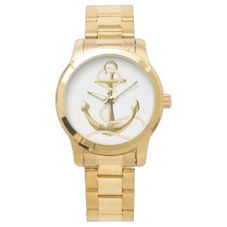 Relógio de forma personalizado da âncora do ouro