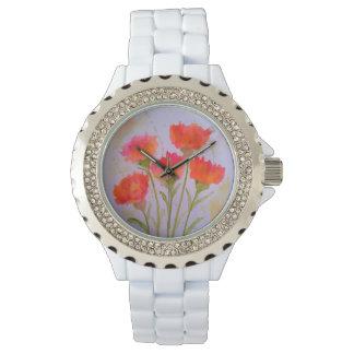 Relógio de forma vívido de 5 flores da aguarela