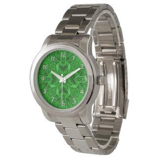 Relógio de homens celta   do vintage do verde do