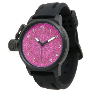 Relógio de homens cor-de-rosa   do vintage do