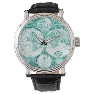 Relógio de homens dos globos do verde do viajante