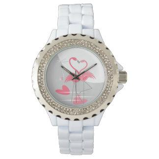 Relógio de lua do amor do flamingo grande
