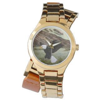 Relógio de ouro do rap do dobro da águia americana