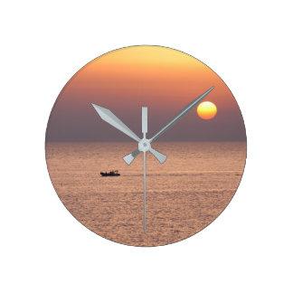 Relógio de Parede Com Pôr do Sol do Mar da Itália