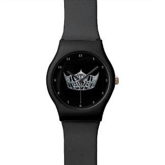 Relógio de prata da senhorita América coroa preto