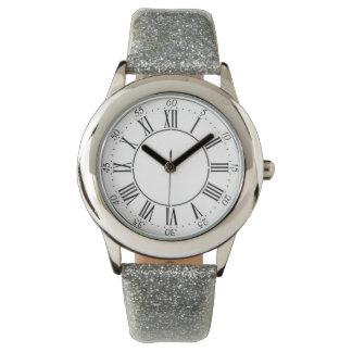 Relógio de prata do numeral romano do brilho