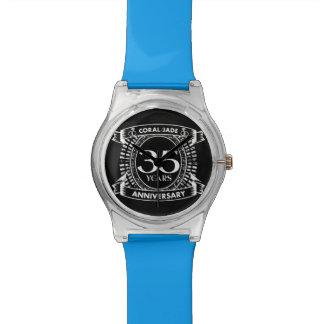 Relógio De Pulso 35a crista coral do jade do aniversário de
