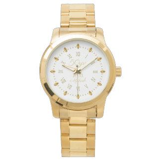 Relógio De Pulso 50th nomes elegantes da data do aniversário de