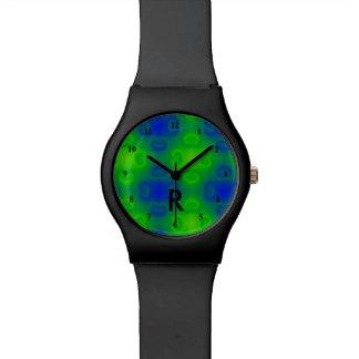 Relógio De Pulso 70s verde azul Monogrammed abstrato Funky do néon