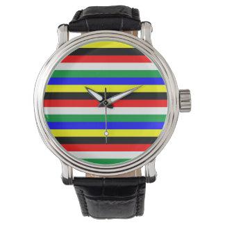 Relógio De Pulso A bandeira de África do Sul listra linhas símbolo