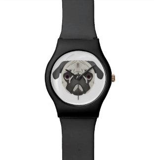 Relógio De Pulso A ilustração persegue o Pug da cara