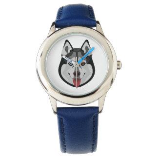 Relógio De Pulso A ilustração persegue o rouco Siberian da cara