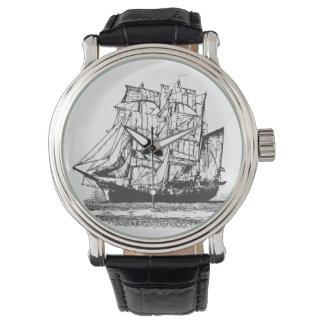 Relógio De Pulso A lápis veleiro Windjammer do desenho náutico