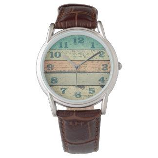 Relógio De Pulso A praia gasto do vintage embarca a madeira