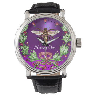 Relógio De Pulso ABELHA do MEL E roxo FLORAL VERDE do apicultor da