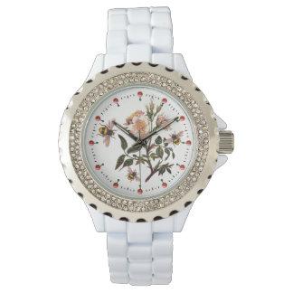 Relógio De Pulso ABELHA do MEL, ROSAS SELVAGENS, branco cor-de-rosa
