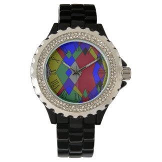 Relógio De Pulso Abstrato colorido retro do diamante