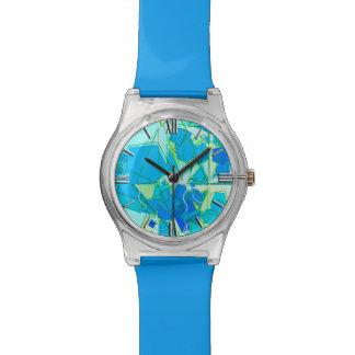 Relógio De Pulso Abstrato moderno do meio século, Aqua & azul