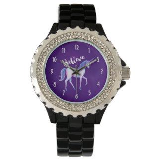 Relógio De Pulso Acredite com unicórnio em aguarelas Pastel