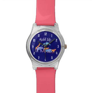 Relógio De Pulso Aguarela colorida do rebanho do animal selvagem