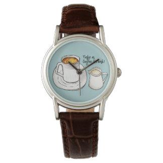 Relógio De Pulso Aguarela da ruptura de café e ilustração da tinta