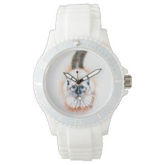 Relógio De Pulso Aguarela do gato Siamese