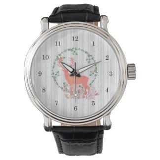 Relógio De Pulso Aguarela rústica de Boho da rena