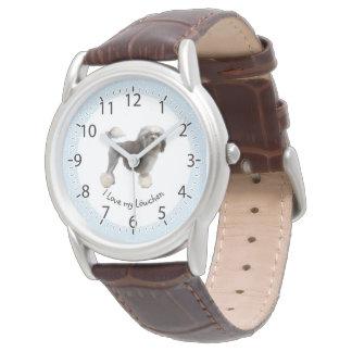 Relógio De Pulso Amante de Im'a Lowchen, diamantes brancos no azul