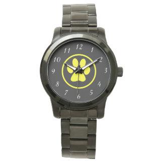 Relógio De Pulso Amante do cão do design da pata do cão amarelo