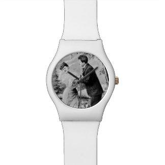 Relógio De Pulso Amantes românticos do vintage em um barco
