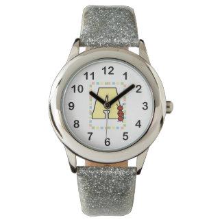 Relógio De Pulso Amarele A é para a beira do azul do verde do rosa