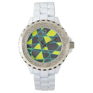 Relógio De Pulso amarelo de néon brilhante geométrico elegante e