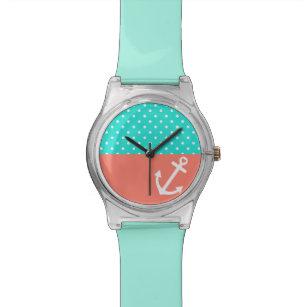 9be2d8a629a Relógio De Pulso Amor náutico das bolinhas de turquesa e de coral