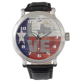 Relógio De Pulso Amor patriótico Texas da bandeira rústica muito