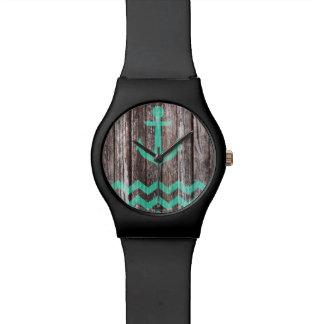 Relógio De Pulso Âncora da hortelã na madeira velha