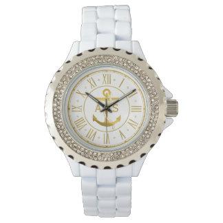 Relógio De Pulso Âncora do ouro com os presentes náuticos das