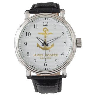 Relógio De Pulso Âncora dourada com os presentes náuticos da corda