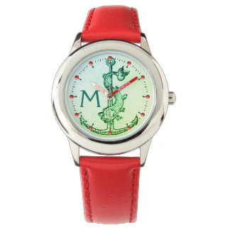 Relógio De Pulso ÂNCORA VERDE COM as gemas NÁUTICAS do rosa do