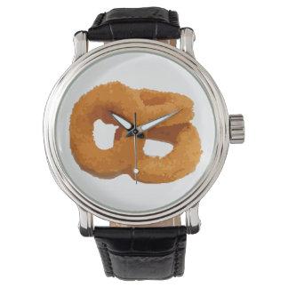 Relógio De Pulso Anéis de cebola da comida do pulso aleatório