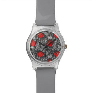 Relógio De Pulso Anêmona, cinzas/cinza e vermelho de William Morris