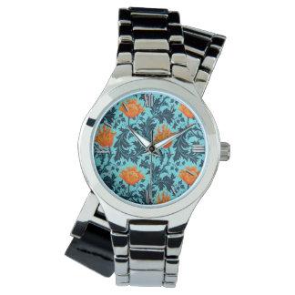 Relógio De Pulso Anêmona de William Morris, azul de índigo e coral