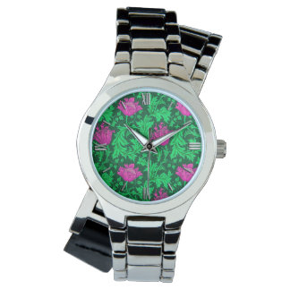 Relógio De Pulso Anêmona de William Morris, verde esmeralda e
