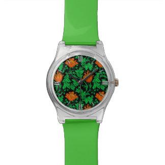 Relógio De Pulso Anêmona, laranja, verde e preto de William Morris
