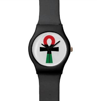 Relógio De Pulso Ankh vermelho, preto & verde