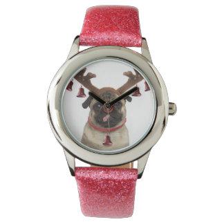 Relógio De Pulso Antlers do Pug - pug do Natal - Feliz Natal