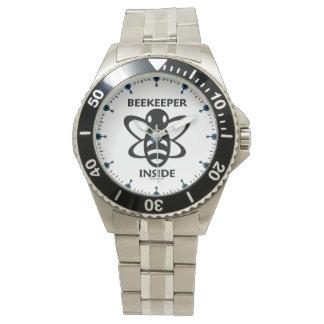 Relógio De Pulso Apicultor dentro do desenho branco preto da abelha