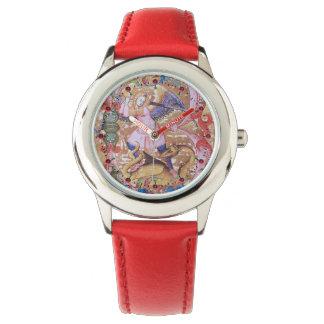 Relógio De Pulso Arcanjo de St Michael e floral antigo do dragão