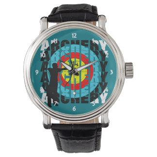 Relógio De Pulso Arqueiros legal da tipografia do esporte do tiro
