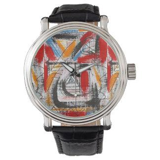 Relógio De Pulso Arte abstracta pintada terceira Olho-Mão